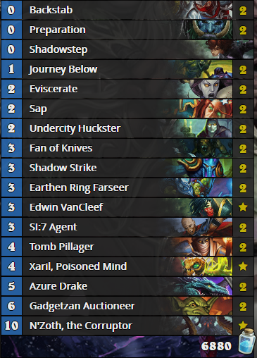 N'Zoth Miracle Rogue - Standarad Meta Snapshot - July 03 2016.png