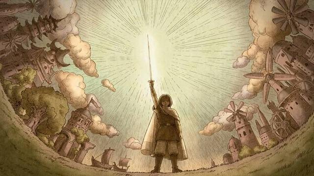 剣を掲げる