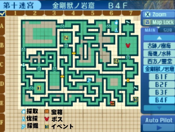 金剛獣ノ岩窟-B4F地図