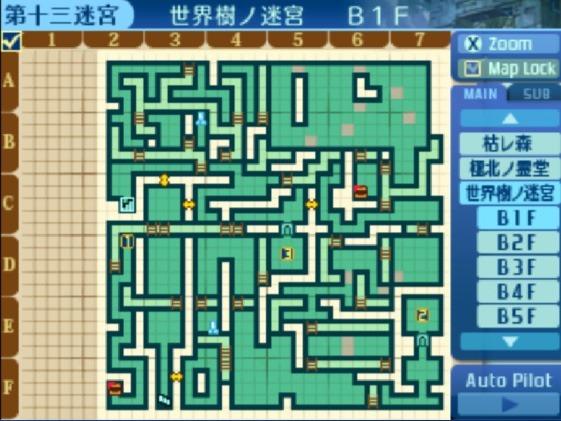 世界樹の迷宮B1F地図