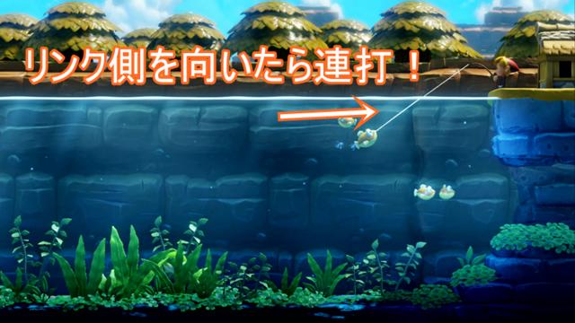 魚がリンクの方向へ向いたら連打する