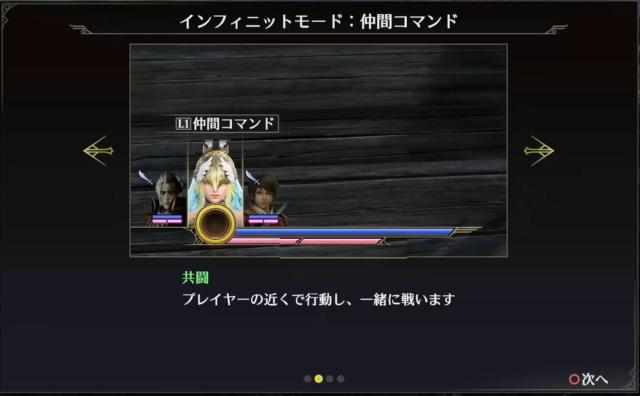 仲間コマンドの1つ共闘はプレイヤーと一緒に戦う