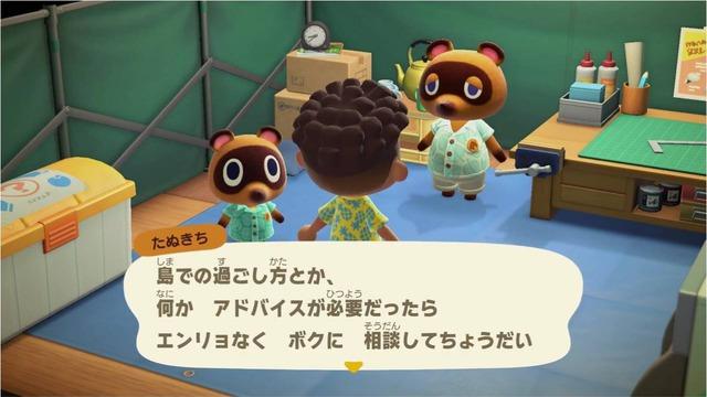 ゲームの序盤では、島の発展(商店や博物館などの建設など)の新しい依頼などを案内所にいるたぬきちから受けることがあるので話しかけて島の発展に関するイベントを発生させましょう。