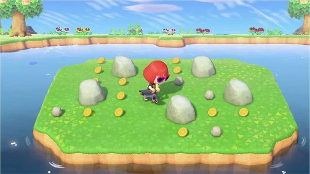 画像のようにツアーの島では、石を叩くことで大量のベルを入手できることがあります。