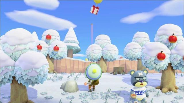 パチンコは、使うことで空に浮かんでいるプレゼント付きの風船を落とすことができます。