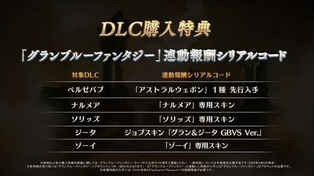 DLC購入特典は、「グランブルーファンタジー」連動報酬シリアルコードでジョブスキン「グラン&ジータ GBVS Ver.」となっています。