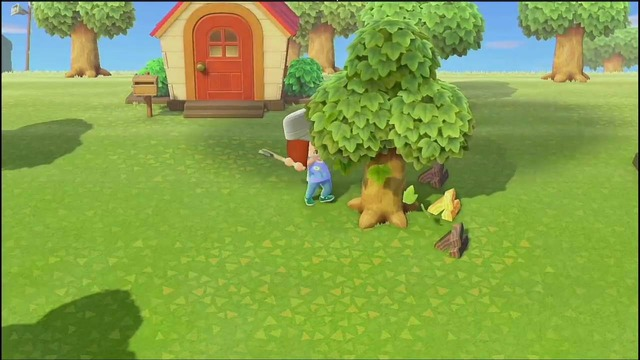島のあちこちにある木からオノを使って「もくざい」などを集めたり、時々木の近くに落ちてたり木を揺らすことで入手できる「きのえだ」を集めましょう。
