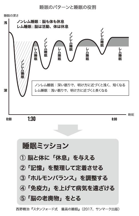 睡眠のパターンと睡眠の役割を表す図